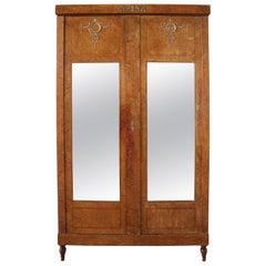 French 19th Century Empire Armoire Mirror Door Wardrobe