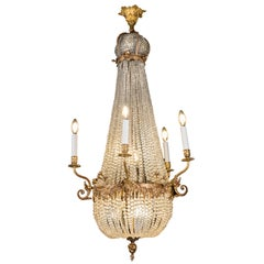 French 19th Century Empire Chandelier Ormolu Beaded Crystal Ten-Light Pendant