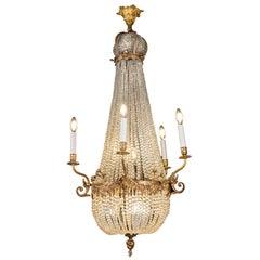 19th Century French Empire Basket Chandelier Ormolu Crystal Ten-Light Pendant