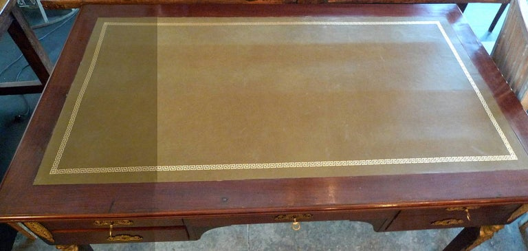 Stained French 19th Century Empire Desk with Four Drawers and a New Leather Top For Sale