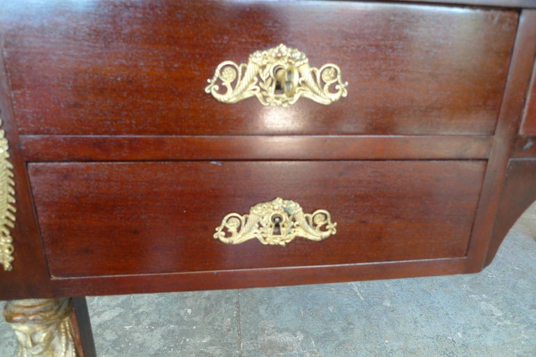 French 19th Century Empire Desk with Four Drawers and a New Leather Top For Sale 4