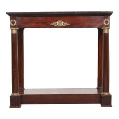 French 19th Century Empire Mahogany and Marble Top Console
