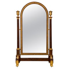 French 19th Century Empire Period Ormolu Mounted Mahogany Psyche Mirror