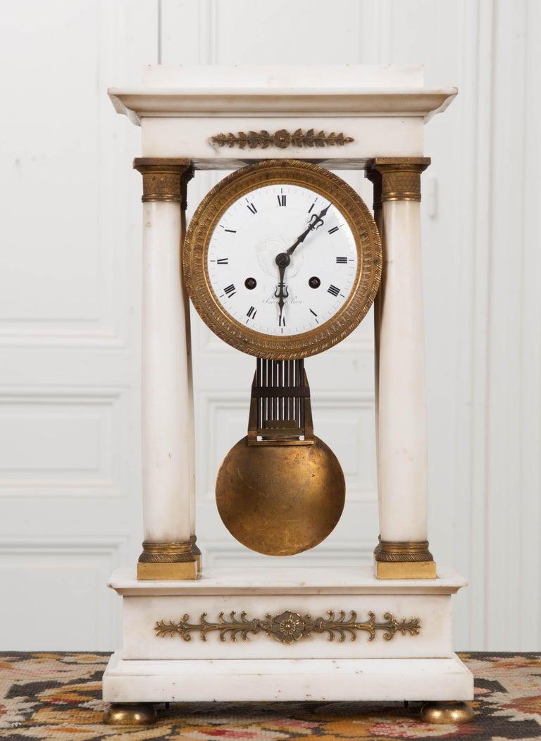 French 19th Century Empire Portico Clock In Good Condition For Sale In Baton Rouge, LA