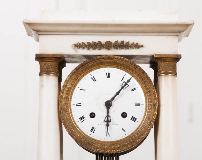 French 19th Century Empire Portico Clock For Sale 1