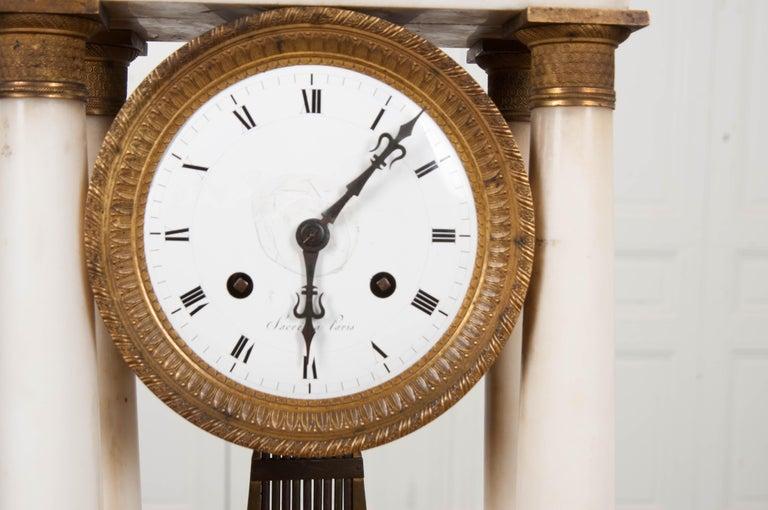 French 19th Century Empire Portico Clock For Sale 3