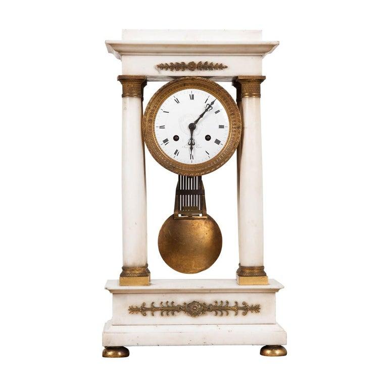 French 19th Century Empire Portico Clock For Sale