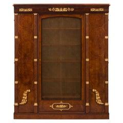 French 19th Century Empire St. Burl Elm, Ebony, Tulipwood, and Ormolu Cabinet