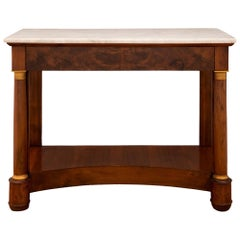 French 19th Century Empire St. Burl Walnut, Ormolu, and Marble Console