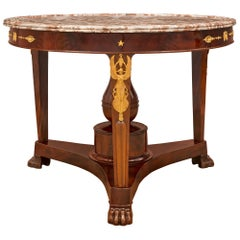 French 19th Century Empire St. Crouch Mahogany Center Table