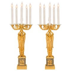 French 19th Century Empire Style Ormolu and Granite Five-Arm Lamps