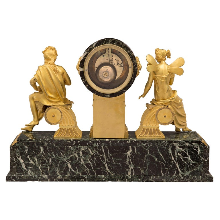 French 19th Century Empire Style Ormolu and Vert Patricia Marble Clock For Sale 10