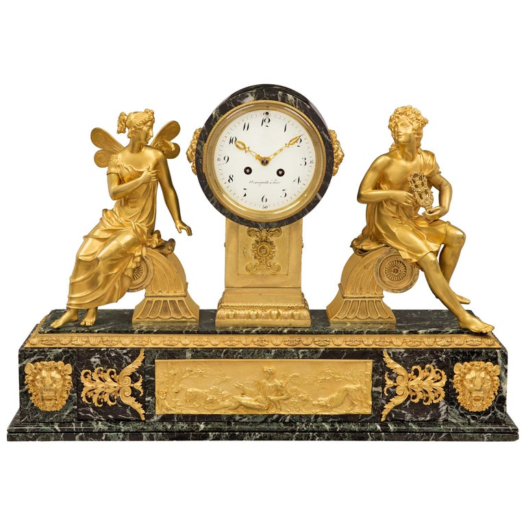 French 19th Century Empire Style Ormolu and Vert Patricia Marble Clock For Sale