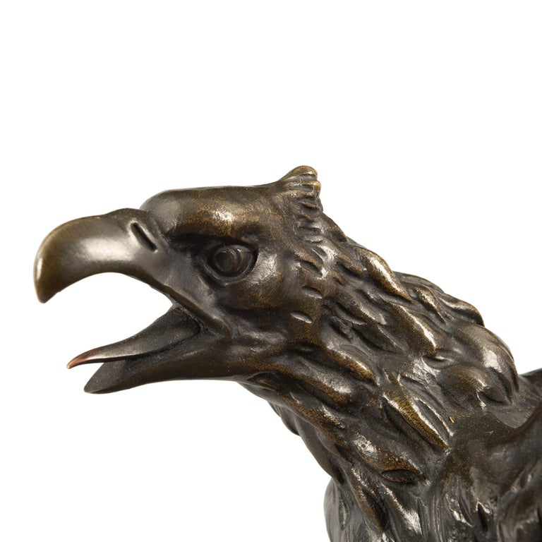 French 19th Century Empire St. Patinated Bronze Eagle Statue For Sale 2