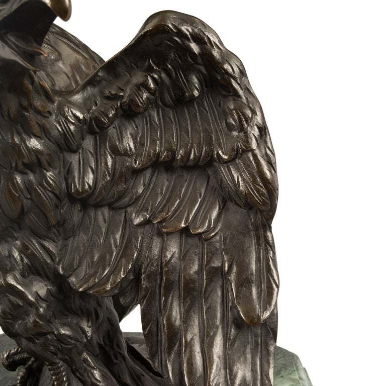 French 19th Century Empire St. Patinated Bronze Eagle Statue For Sale 3