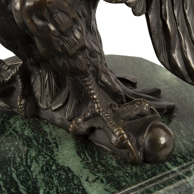 French 19th Century Empire St. Patinated Bronze Eagle Statue For Sale 5