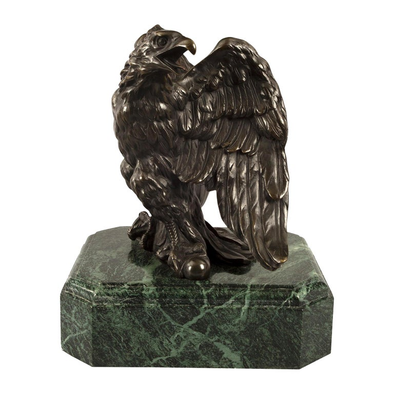 French 19th Century Empire St. Patinated Bronze Eagle Statue For Sale