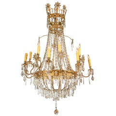 French 19th Century Empire Style 16-Light Crystal and Gilt Metal Chandelier