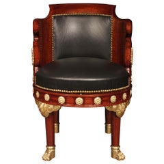 French 19th Century Empire Style Mahogany and Ormolu Desk Chair