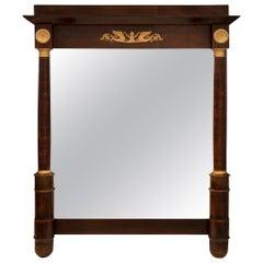 French 19th Century Empire Style Mahogany and Ormolu Mirror