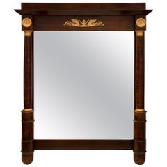 French 19th Century Empire Style Mahogany and Ormolu Mirror