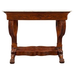 French 19th Century Empire Style Mahogany and Satinwood Inlaid Console