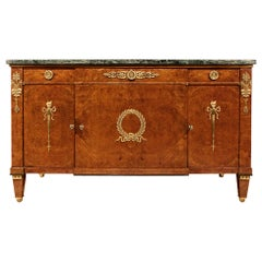 French 19th Century Empire Style Neoclassical Burl Walnut Buffet