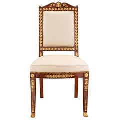 French 19th Century Empire Style Ormolu and Solid Mahogany Side Chair