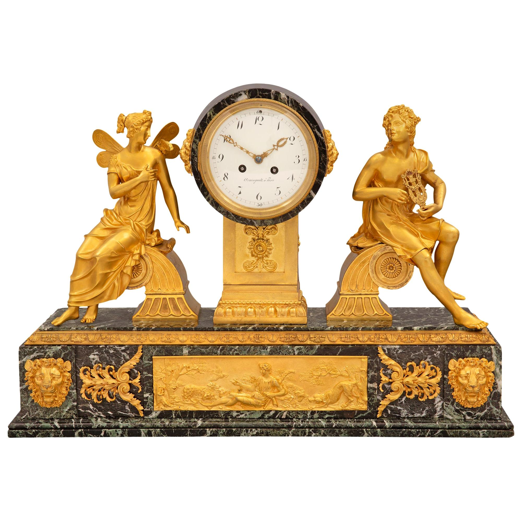 French 19th Century Empire Style Ormolu and Vert Patricia Marble Clock