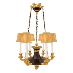 French 19th Century Empire Style Patinated Bronze and Ormolu Six-Arm Chandelier