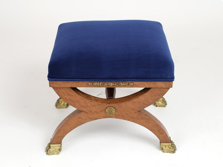Hand-Crafted French 19th Century Empire Style Petite Stool For Sale