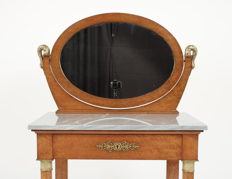Beveled French 19th Century Empire Style Vanity For Sale