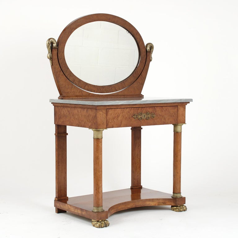 Brass French 19th Century Empire Style Vanity For Sale