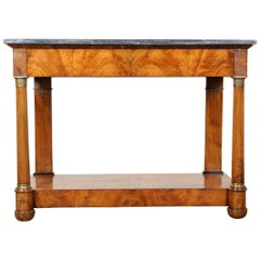 French 19th Century Empire Walnut Console with Marble Top