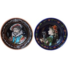 French 19th Century Enamel on Copper Pair of Plates, circa 1880