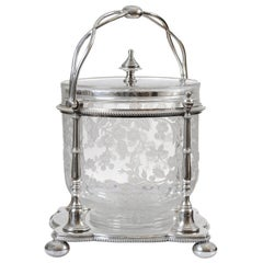 French 19th Century Etched Crystal and Silver Biscuit Barrel with Floral Decor