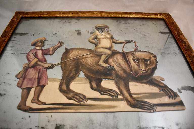 French 19th Century Exotic Hand Painted Decoupage Rococo Mirror Monkey and Bear For Sale 5