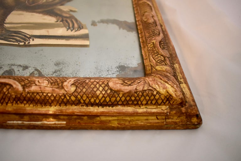 French 19th Century Exotic Hand Painted Decoupage Rococo Mirror Monkey and Bear For Sale 6