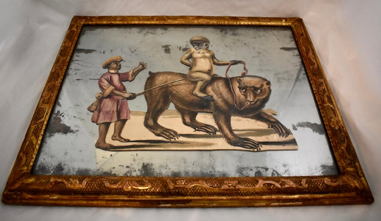 French 19th Century Exotic Hand Painted Decoupage Rococo Mirror Monkey and Bear In Good Condition For Sale In Philadelphia, PA