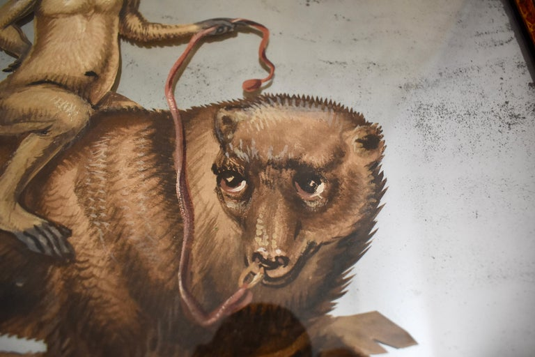French 19th Century Exotic Hand Painted Decoupage Rococo Mirror Monkey and Bear For Sale 2
