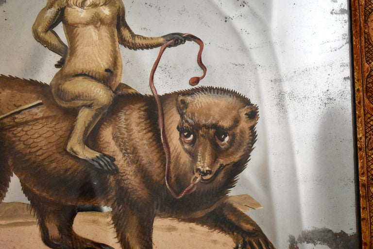 French 19th Century Exotic Hand Painted Decoupage Rococo Mirror Monkey and Bear For Sale 3