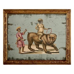 French 19th Century Exotic Hand Painted Decoupage Rococo Mirror Monkey and Bear