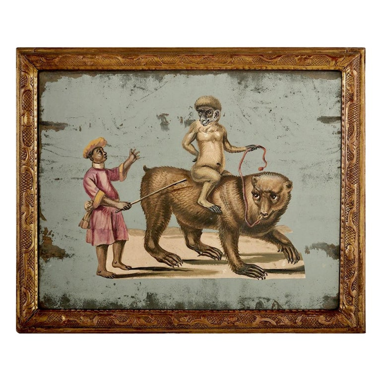 French 19th Century Exotic Hand Painted Decoupage Rococo Mirror Monkey and Bear For Sale