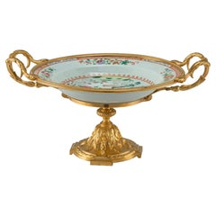 French 19th Century Famille Rose Porcelain and Ormolu Louis XVI St. Centerpiece