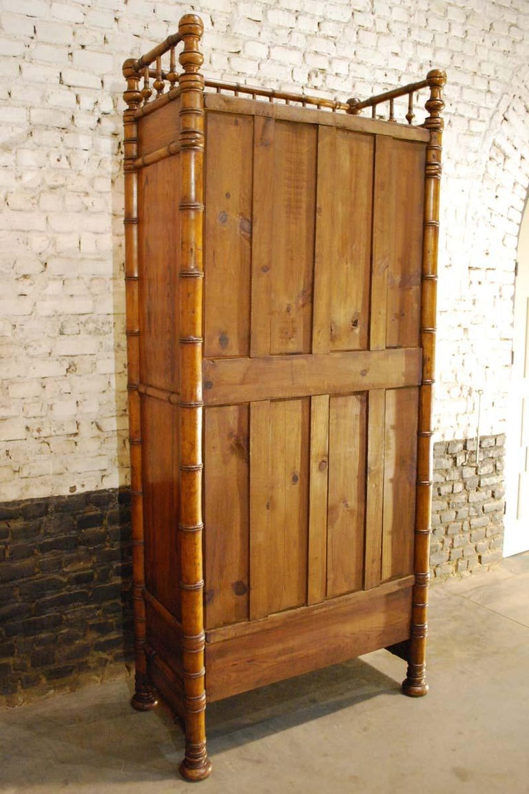 French 19th Century Faux Bamboo Cabinet with Mirrored Door ...