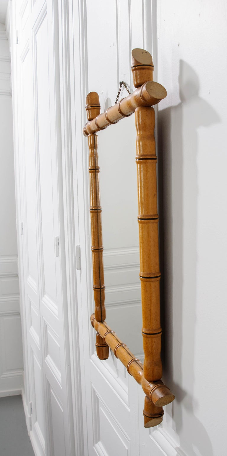 French 19th Century Faux Bamboo Mirror In Good Condition In Baton Rouge, LA