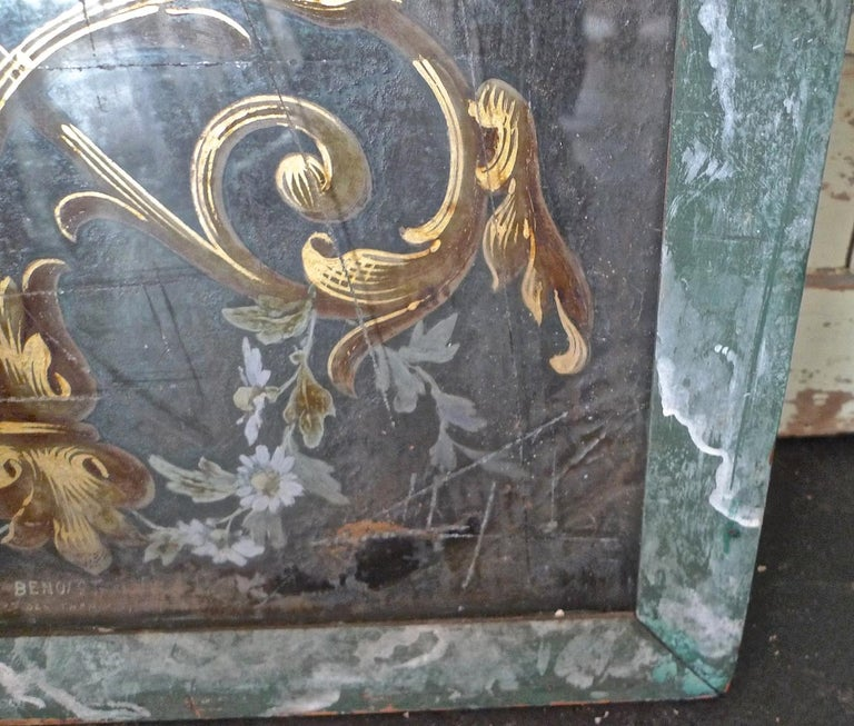 French 19th Century Faux Marble Hand Painted Framed Painting, Glass is Cracked For Sale 8