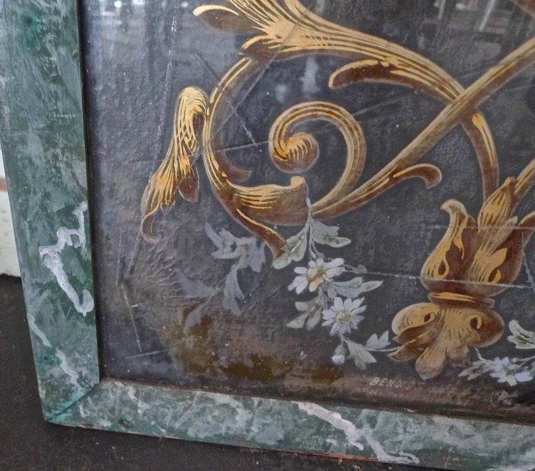 French 19th Century Faux Marble Hand Painted Framed Painting, Glass is Cracked For Sale 9