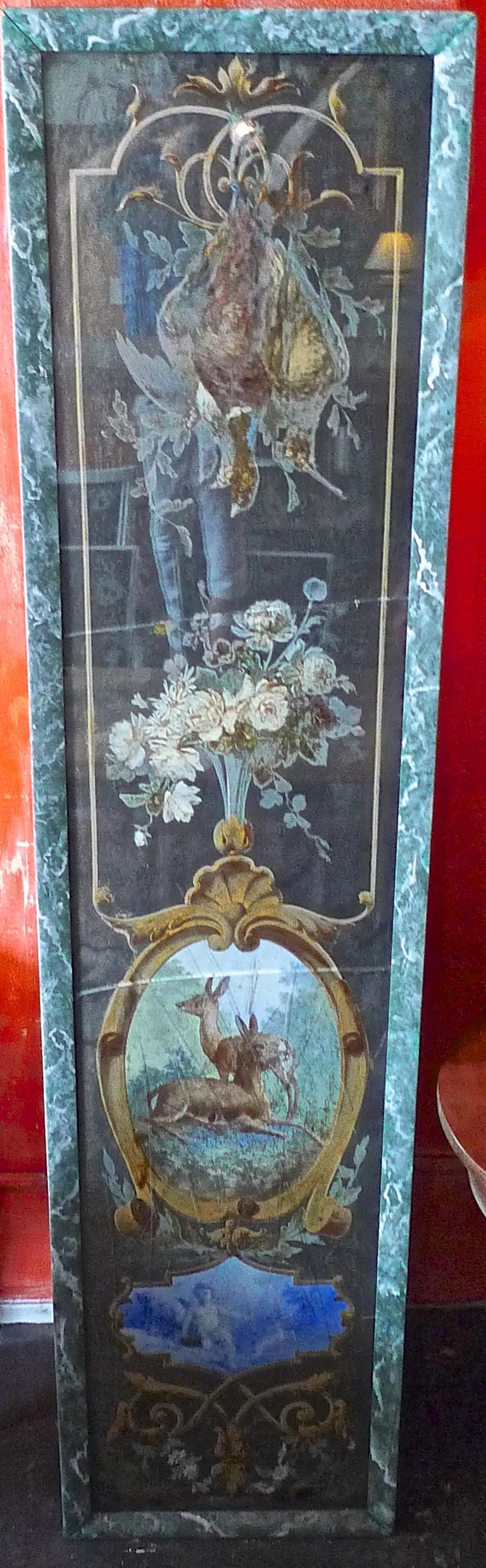 French 19th Century Faux Marble Hand Painted Framed Painting, Glass is Cracked For Sale 11