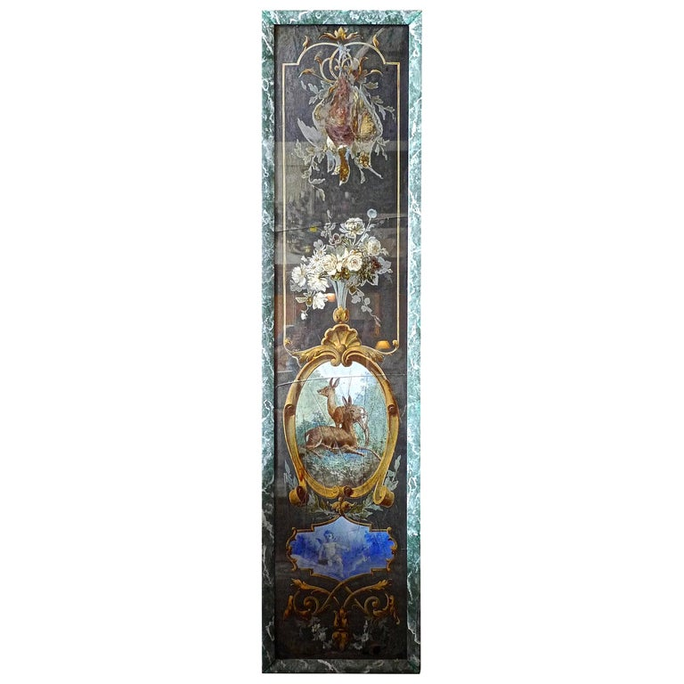 French 19th century faux marble hand painted wood framed painting. The glass is both cracked and scratched. Sold as is.